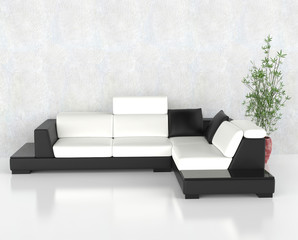 Black and white corner furniture set