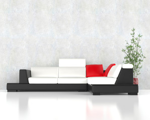Stylish modern corner furniture set wit red pillows