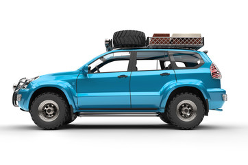Cyan Modern SUV ready and packed
