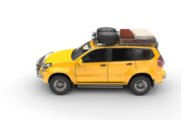 Big Yellow Modern SUV - top view