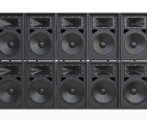 Wall of big concert loudspeakers