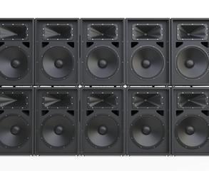 Wall of big concert loudspeakers
