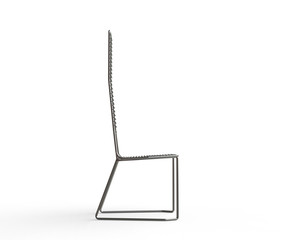 Modern wire armchair - side view