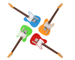 Four colorful electric guitars