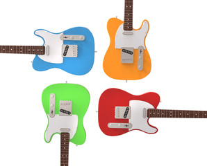 Electric guitars in prime colors