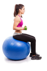 Lifting weights on swiss ball