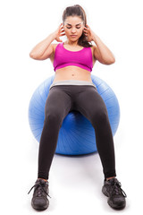 Using a stability ball for crunches