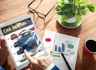 Car Rental Transportation Logistics Selection Working Concept