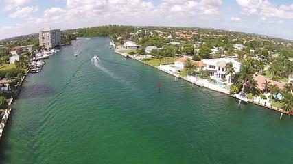 Waterways in Boca Raton Florida aerial view