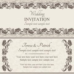 Baroque wedding invitation, brown and beige