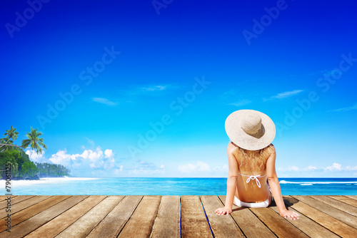 Relaxation Beach Woman Vacation Outdoors Seascape Concept - 79061125