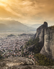 Panorama of the Meteora valley in Greece