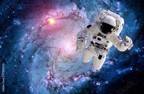 Leinwanddruck Bild Astronaut Spaceman Galaxy Spiral