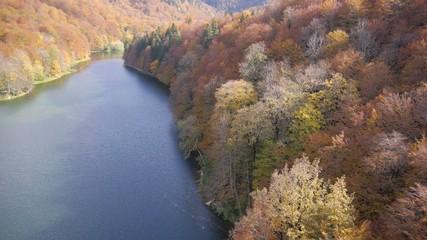 Mountain lake aerial