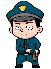 Vector illustration of Cartoon police