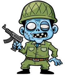 Vector illustration of Cartoon zombie soldier with a gun