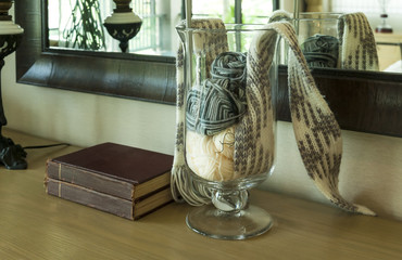 decorative set of crochet on wood table