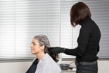 Close up of a hairdresser coloring woman's hair.