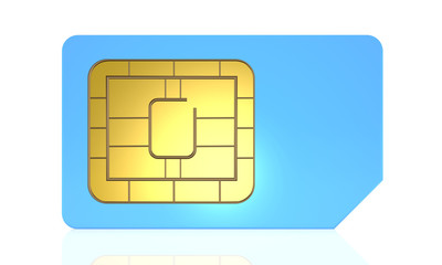SIM card for mobile phone or smartphone isolated on white backg