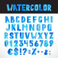Watercolor blue alphabet