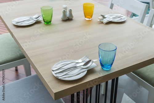restaurant table setting before service - 79063939
