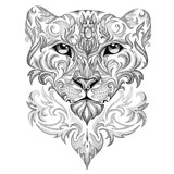 Tattoo snow leopard, panther, cat, with patterns and ornaments - 79064148