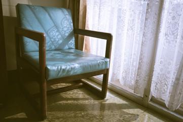 Vintage filtered armchair,interior concept.
