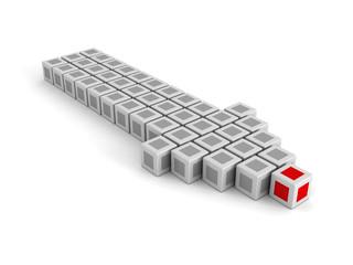 Red Leader Block of Big Arrow Moving Forward. Leadership Concept