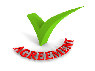 Green Checkmark Agreement Red Word on White Background