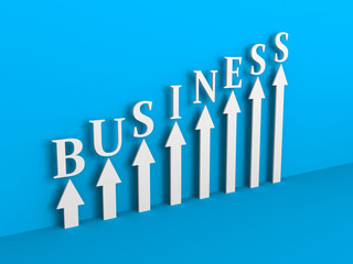 Arrows Rising Chart on Blue Background. Business Success Concept
