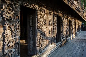 Ancient teak monastery of Shwenandaw Kyaung in Mandalay, Myanmar