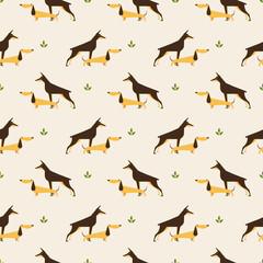dachshund and doberman dog pattern