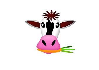 Kuh mit Karotte im Mund / Cow