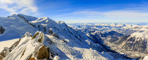 Aiguille du Midi, Mont Blanc, view of Chamonix,French Alps -