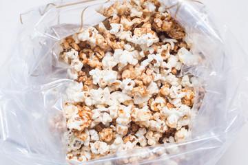 caramel popcorn in plastic bags