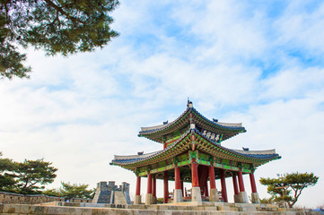 Hwaseong fortress in Suwon,Famous in Korea.