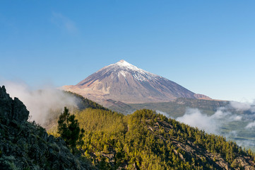 Arial cloudy view on volcano Teide. Tenerife