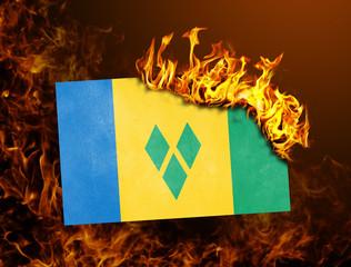Flag burning - Saint vincent and the grenadines