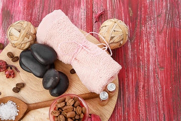 spa stones and coffee beans - beauty treatment