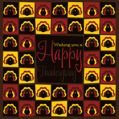 Funky mosaic Thanksgiving card in vector format.