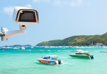 cctv camera with beach background