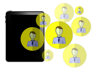 Illustration of tablet with social media heads isolated