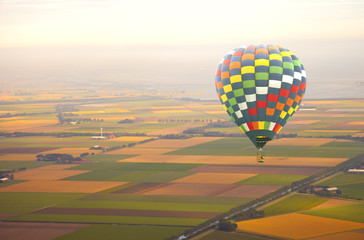 Aerial view at air balloon with Dutch landscape