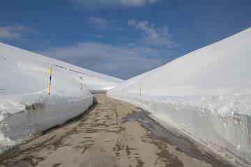 Strada invernale di montagna