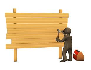 Schreiner, Holzbretter, Hammer, Figur, 3d illustration