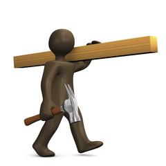 Handwerker mit Holz und Hammer, 3D Illustration