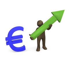 Euro, grüner Pfeil, Figur, 3d illustration