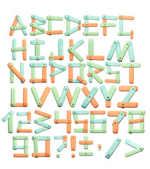 Alphabet - letters from a bright paper texture