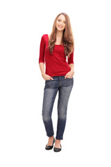 Pretty woman in casual clothes poisng on white background