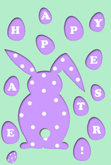 easter card with rabbit and eggs shape